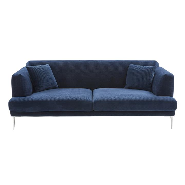 Image of Dusk Quilted Navy Velvet Sofa - 3 Seat