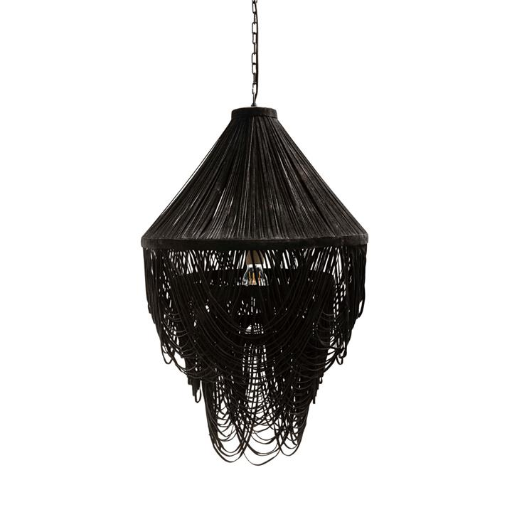 Image of Yumi Black Draped Suede Leather Chandelier
