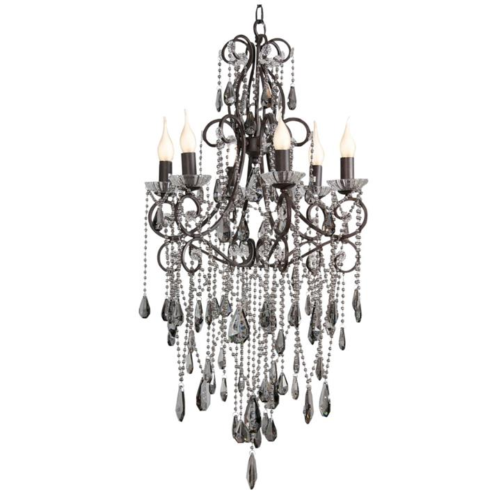Image of Elegance 6 Cup Chandelier - Smoke H100Cm