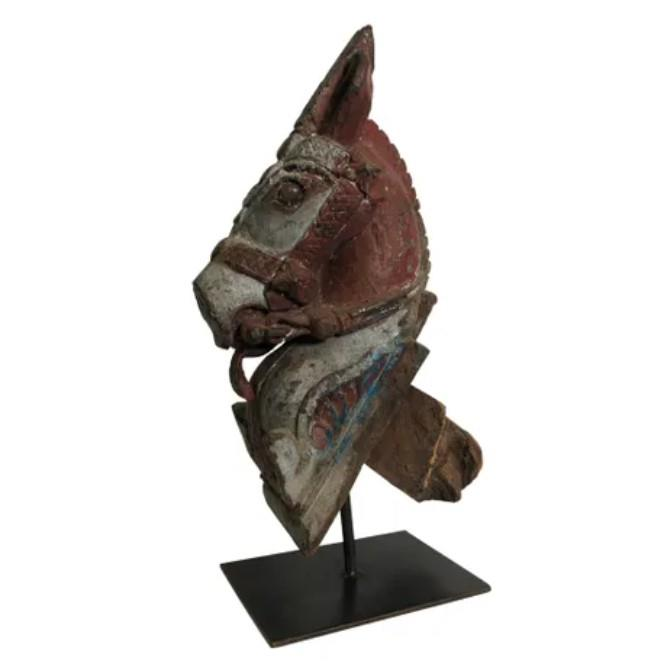 Image of Large Indian Vintage Horse Carving Red