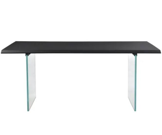 Image of Ingot Black Wood & Glass Dining Table