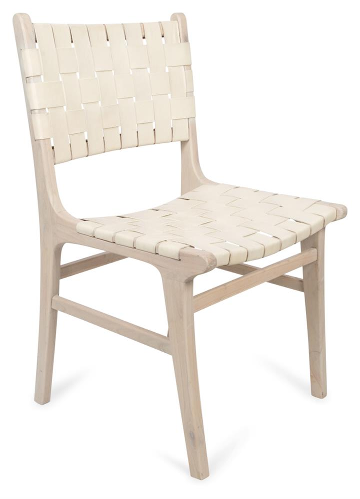 Image of Numada Leather Weave Dining Chair in Ivory