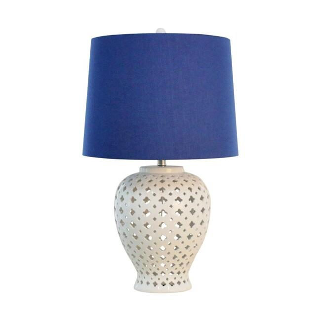 Image of Lattice Tall White Table Lamp W/Blue Shade