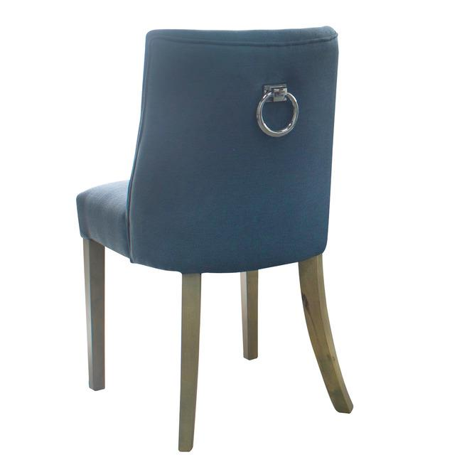 Image of Ophelia Dining Chair Blue silver Ring wood legs