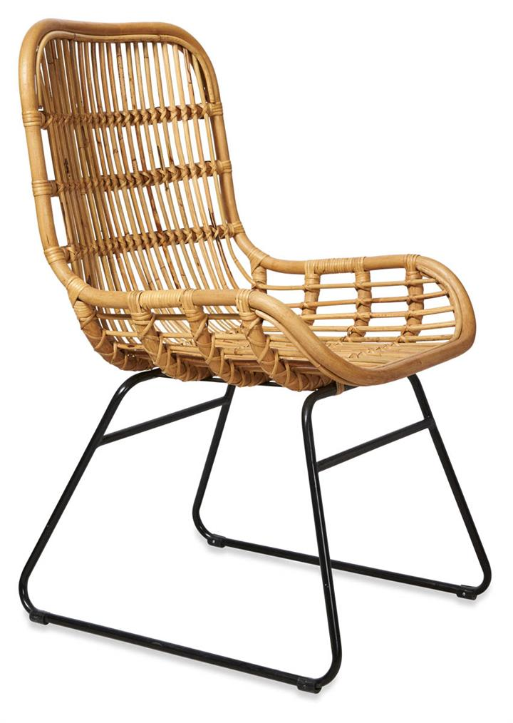 Image of Mudoro Rattan Armchair with Metal Legs - Natural/Black