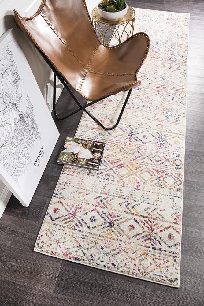 Image of Ismail Multi Grey Rustic Runner Rug 400x80cm