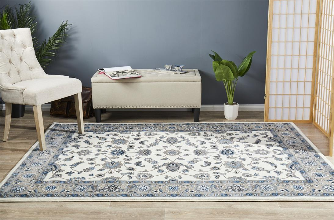 Image of Classic Rug White with Beige Border 330x240cm