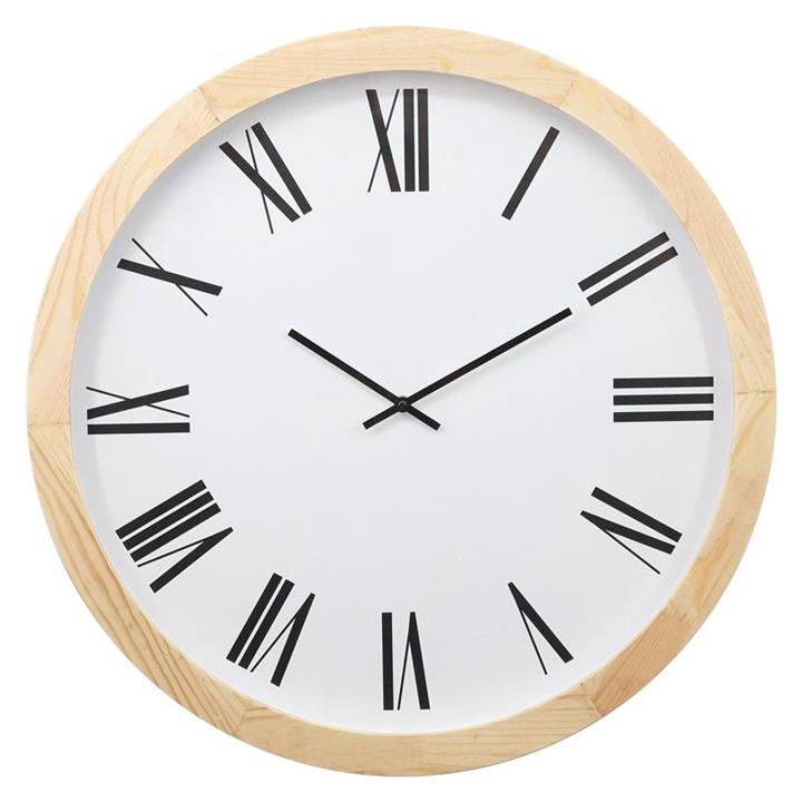 Image of Roman Numeral Wood Wall Clock- Natural-White