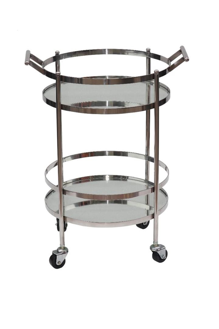 Image of Manhattan Round Stainless Steel and Glass Bar Cart - Silver