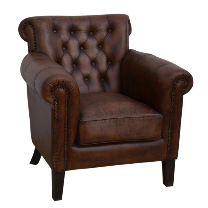 Image of Chocolate Leather Arm Chair