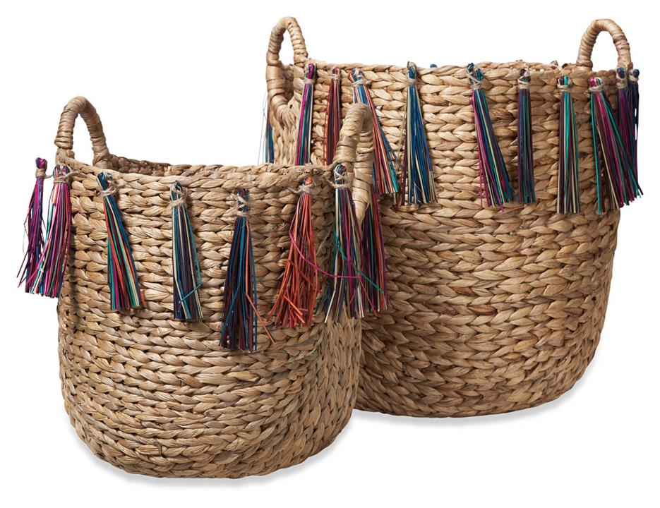Image of Amira Set of 2 Woven Baskets with Coloured Fringe - Natural/Multicolour