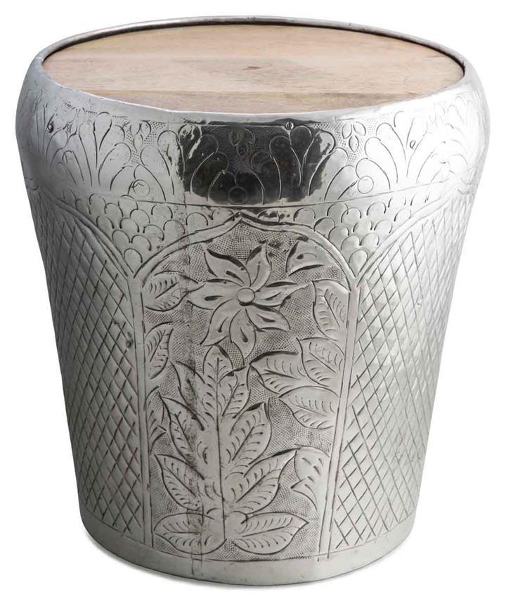 Image of Round Aluminium Tapered Stool - Silver