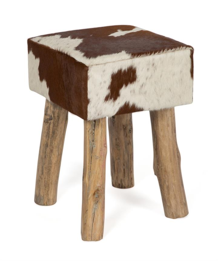 Image of Cow Hide and Wooden Seat, Brown and White