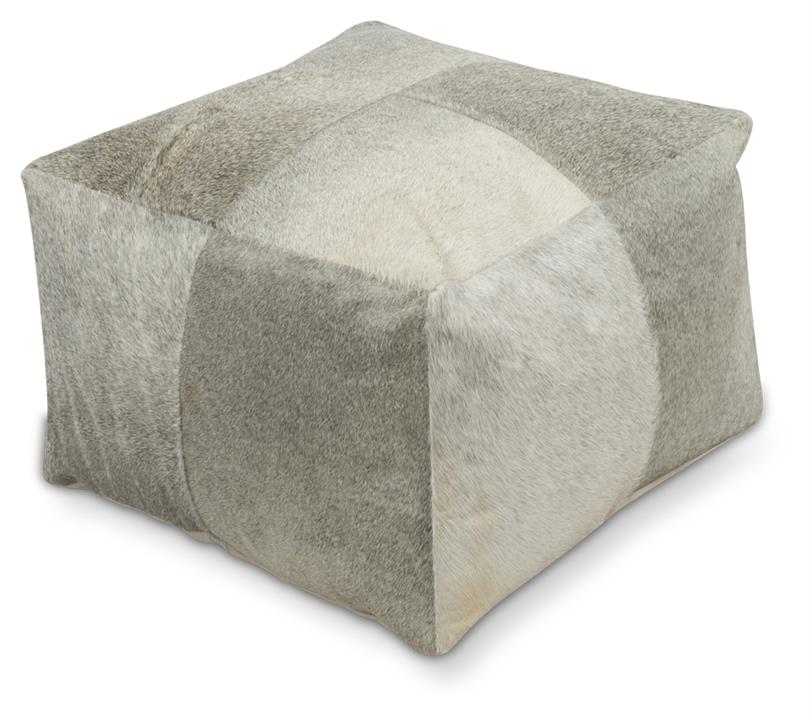 Image of Grey Patchwork Cowhide Ottoman
