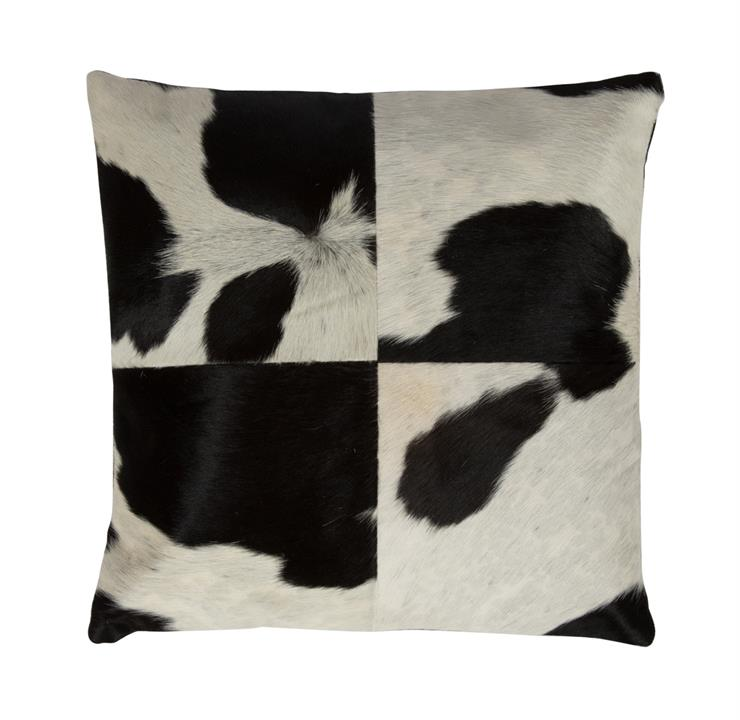 Image of Edgy Cow Hide Throw Cushion, Black and White