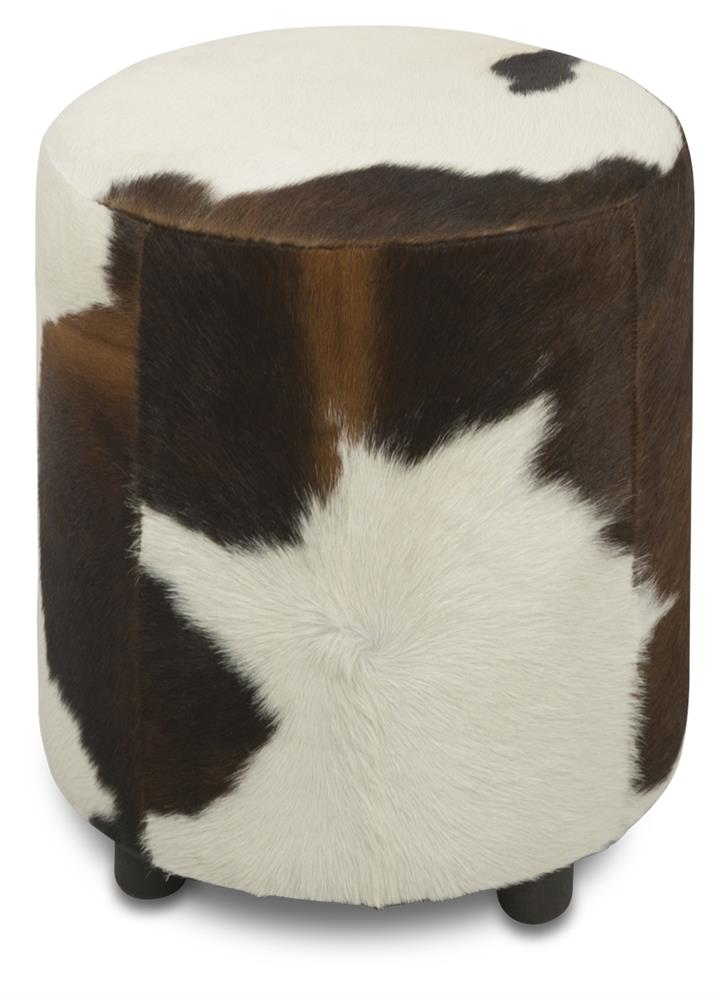 Image of Round Cowhide Ottoman in Brown/White