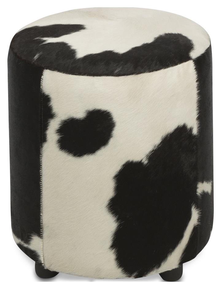 Image of Round Cowhide Ottoman in Black/White
