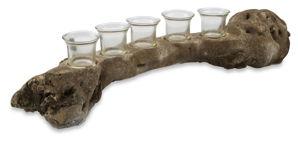 Image of Cement Branch with Five Glass T Lite Holders
