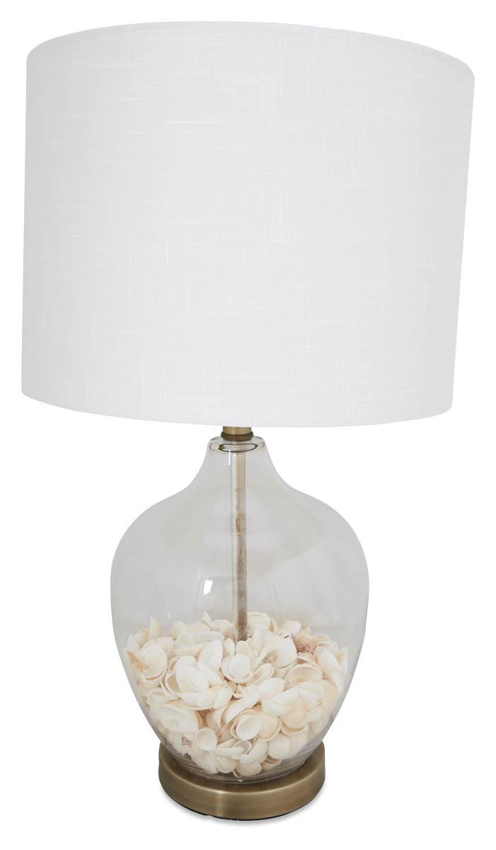 Image of Glass Shell Table Lamp with White Linen Shade and Metal Base - White