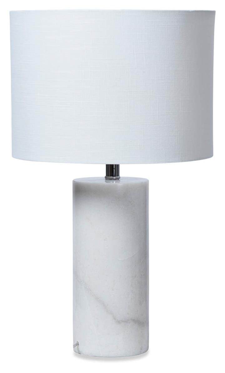 Image of White Cylinder Marble Table Lamp with Linen Shade - White