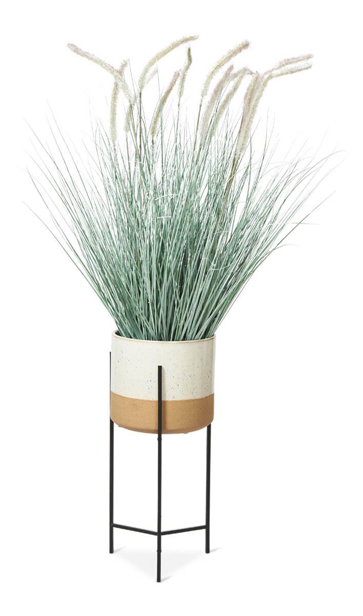 Image of Two Tone Ceramic Pot on Medium Iron Stand - Ivory/Natural