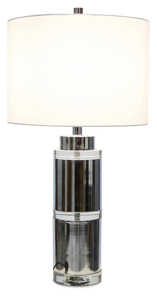 Image of Valerie Tall Crystal and Metal Table Lamp with Off white Linen Shade