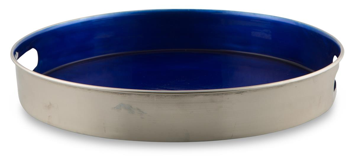 Image of Iron and Enamel Polished Silver 42cm Round Tray with Side Handles