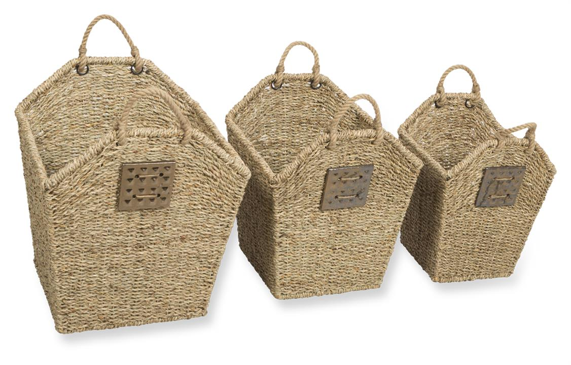Image of Lawson Seagrass Set of Three Baskets with Rope Handles and Ceramic Tile Detail