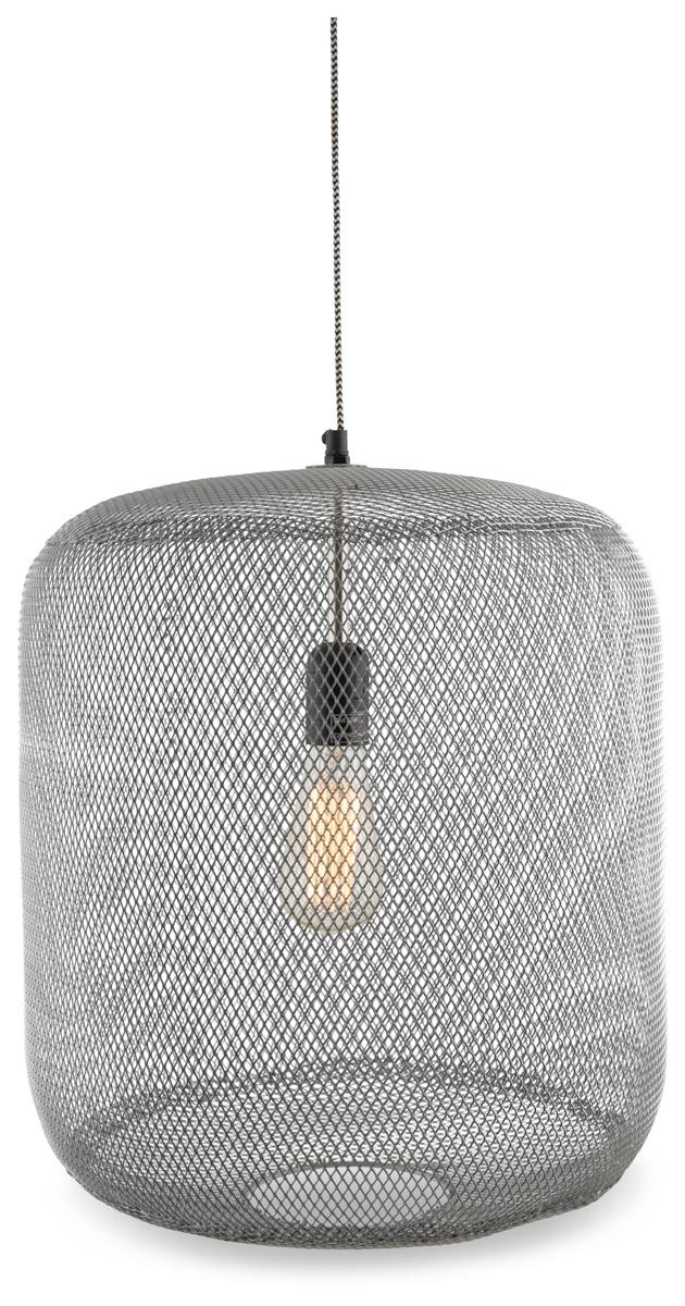 Image of Mesh Iron and Brass Pendant Hanging Light Medium with Copper Detail