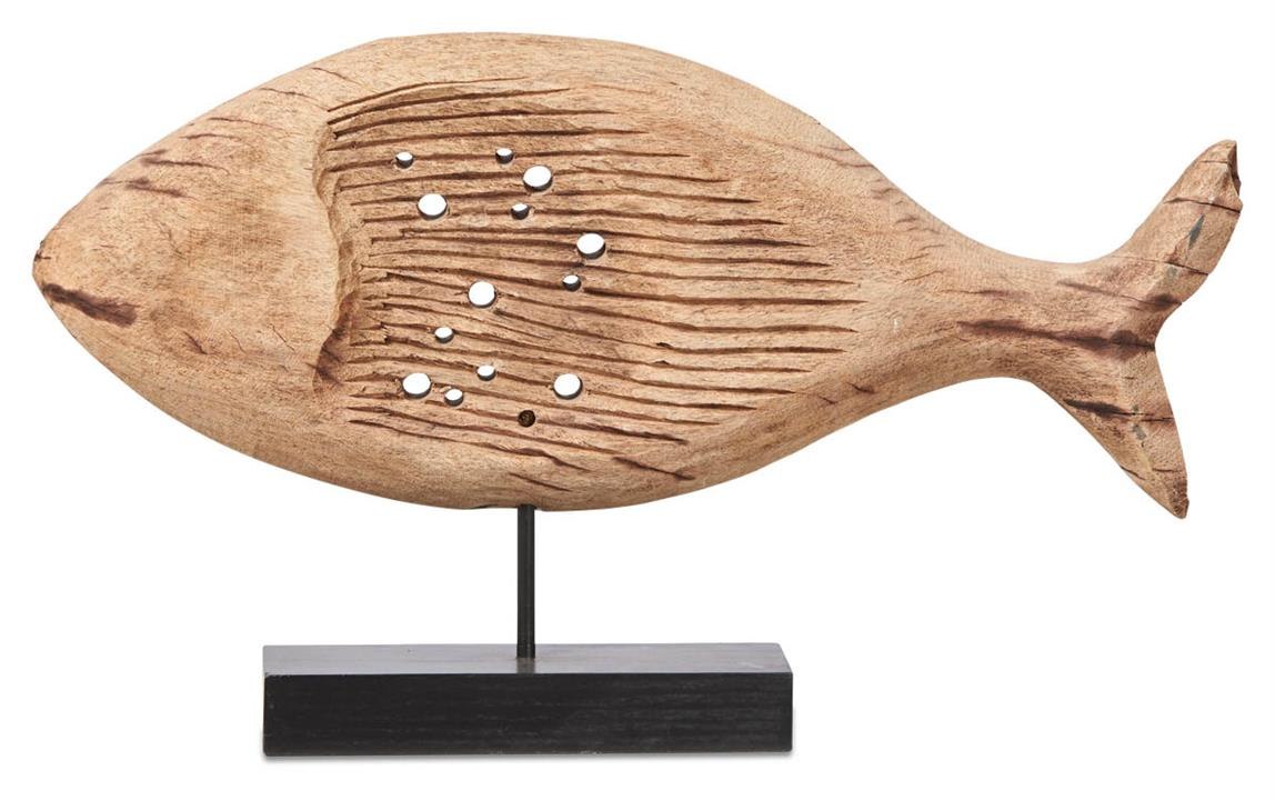 Image of Neptune Mango Wood Chiselled Wide Fish on Stand - Natural/Black