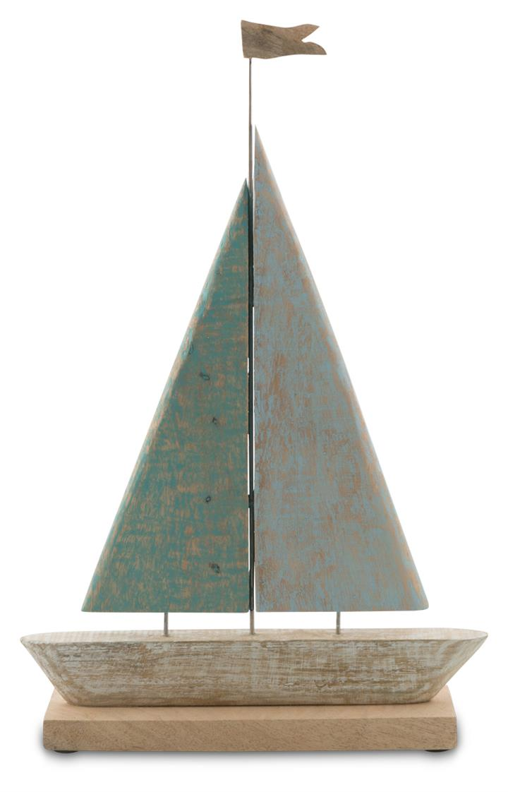 Image of Cottesloe Washed Mango Wood and Iron Sail Boat Large