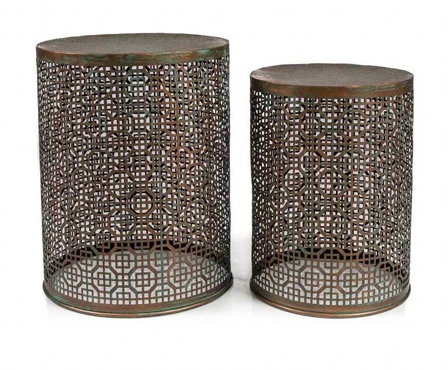 Image of Rounded Iron Stool Set
