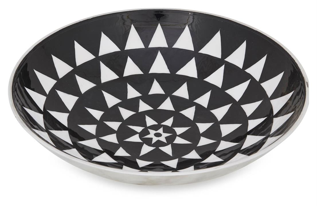 Image of Aluminium Zulu Round Bowl Small - Black/White