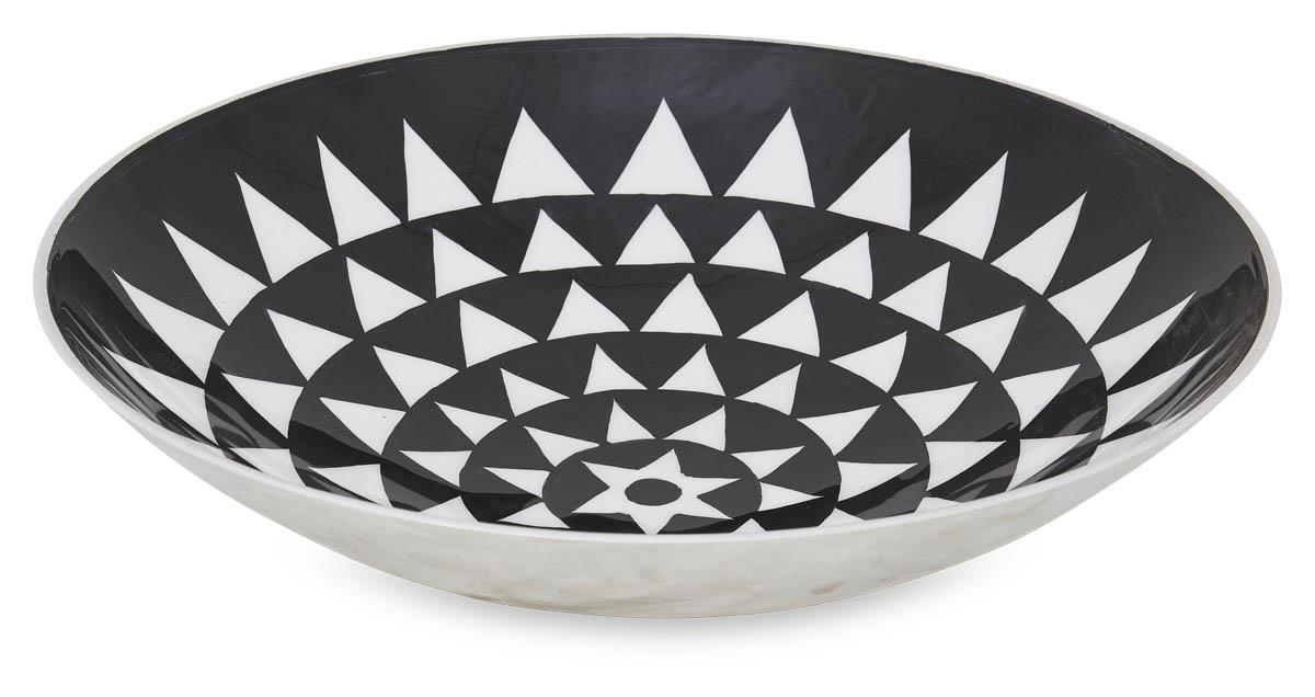 Image of Aluminium Zulu Round Bowl Medium - Black/White