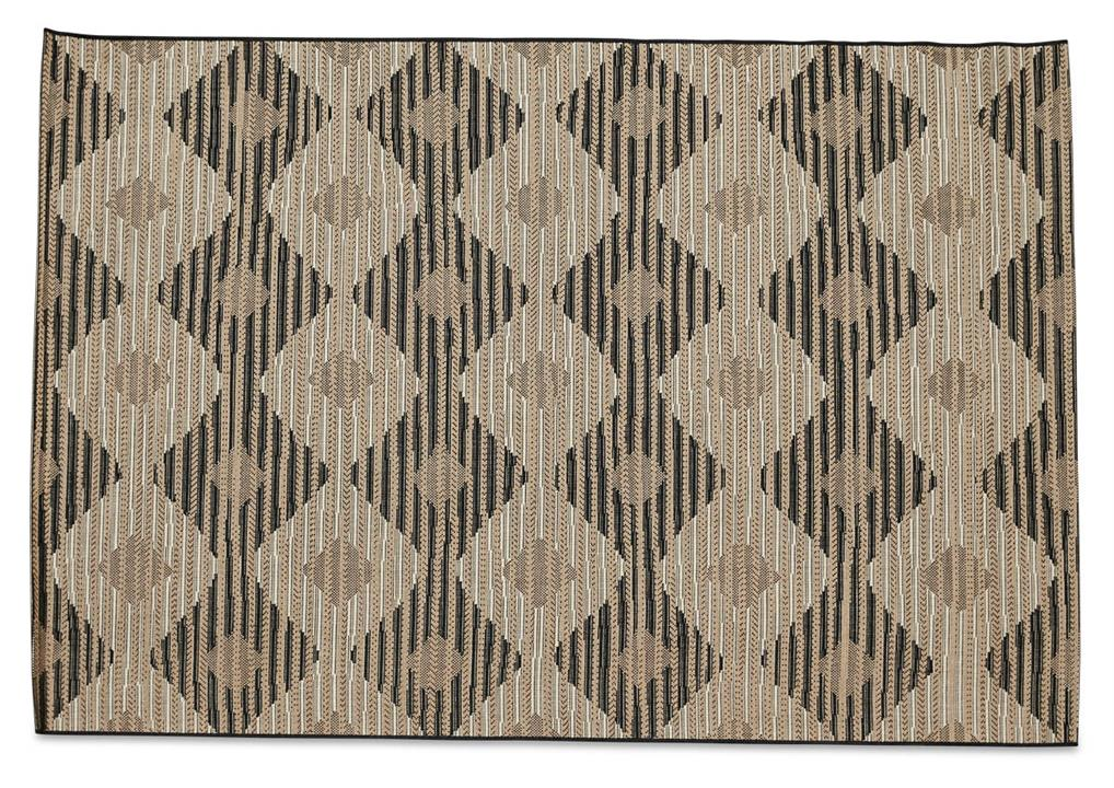 Image of Layla Diamond Jute Polypropylene Rug - Black/Jute - 160x230cm