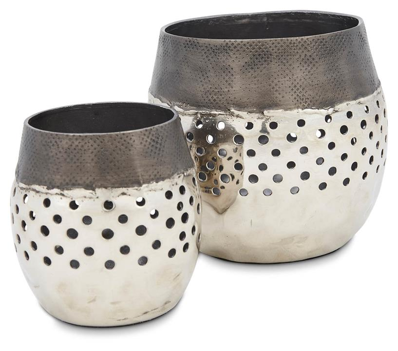 Image of Set of 2 Aluminium Round Votives with Holes - Graphite/Silver