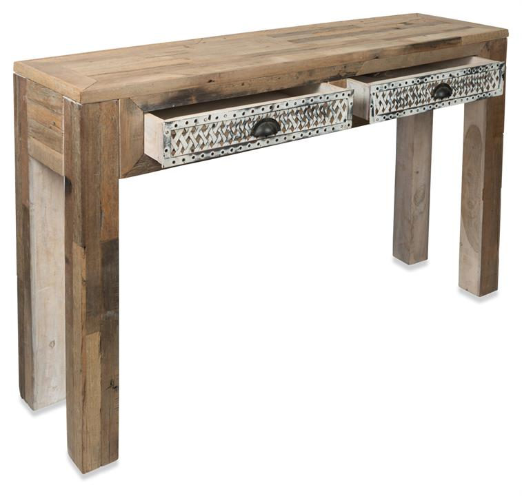 Image of Iron and Distressed Wood Table, Two Drawer