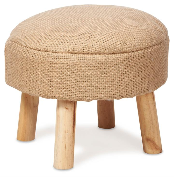 Image of Jute Stool with Pine Legs - Natural