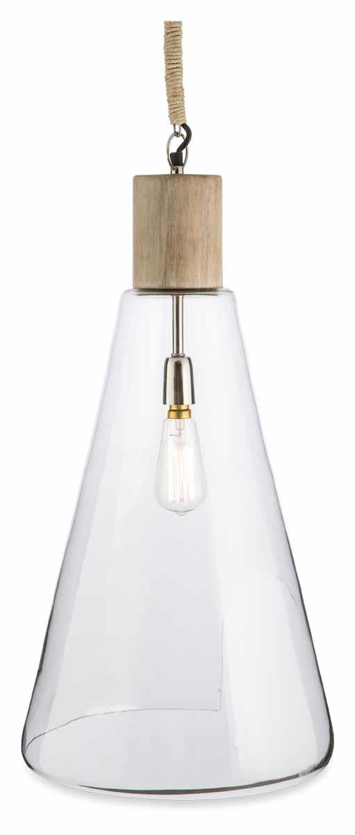 Image of Extra Large Glass Pendant Light with Mango Wood Top and Jute Cord