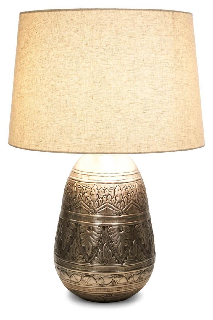 Image of Jasper Metal Work Iron Table Lamp with Fabric Shade - Pewter/Grey