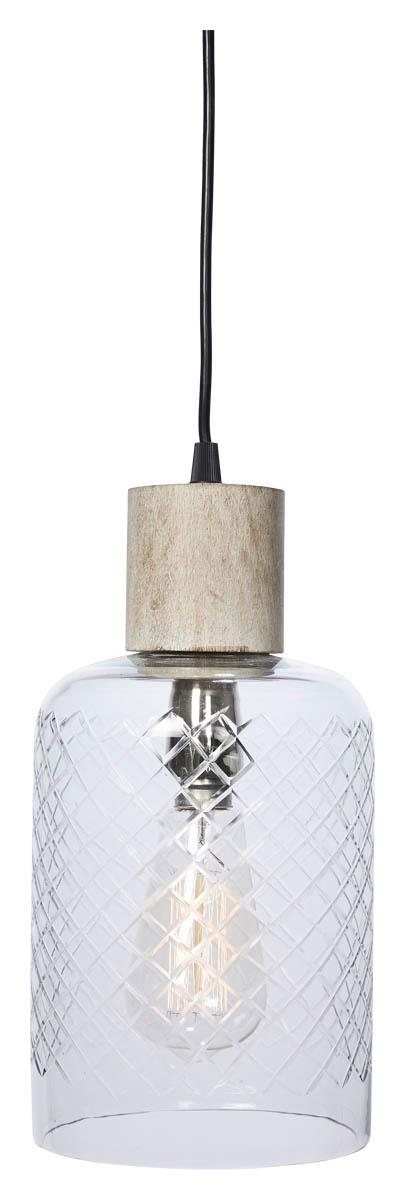 Image of Byron Tubular Cut Glass and Wood Pendant Light - Clear/White Wash