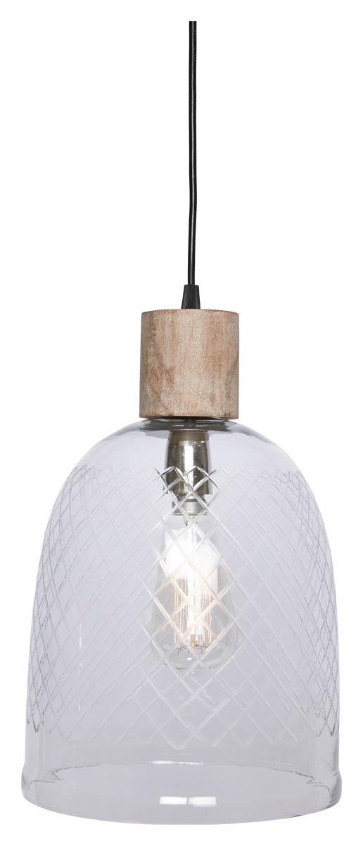 Image of Byron Curved Cut Glass and Wood Pendant Light - Clear/White Wash