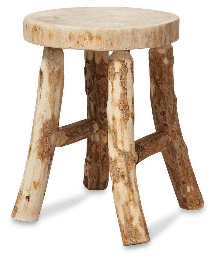 Image of Ubud 4 Leg Paulownia Wood Stool Small - Bleached