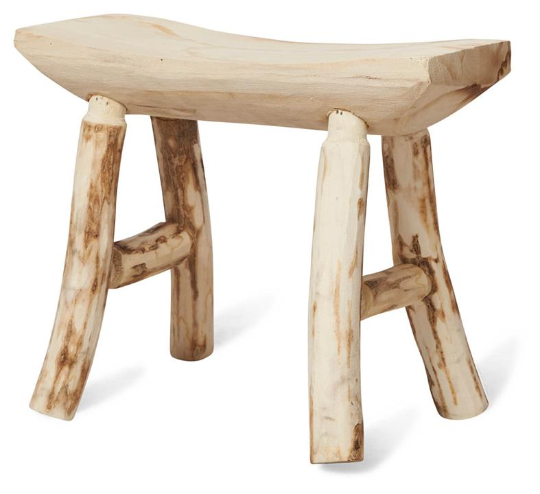 Image of Malang 4 Leg Paulownia Wood Stool Medium - Bleached