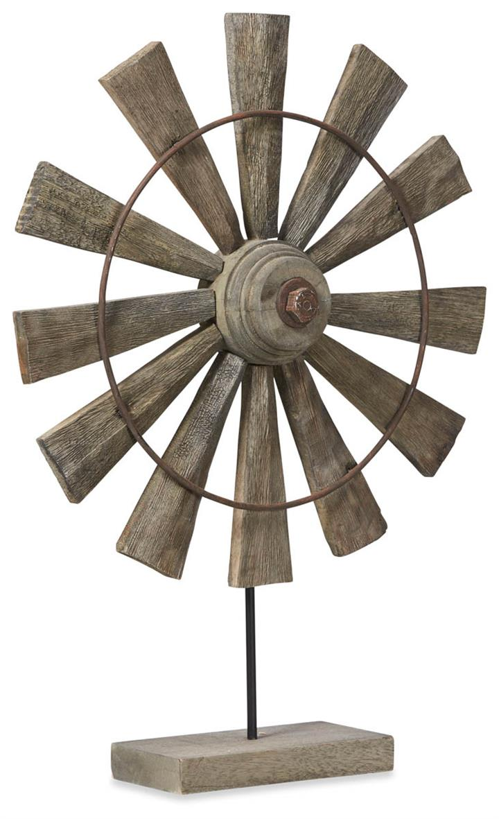 Image of Rural Mango Wood Windmill Medium - Brown
