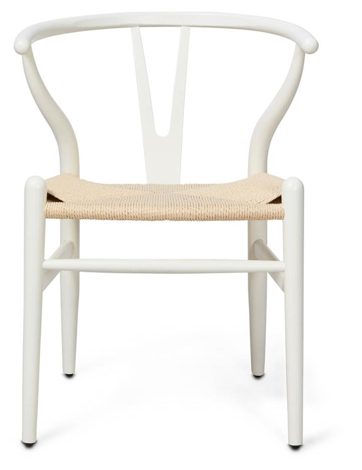 Image of Wishbone Beechwood Chair - White/Natural