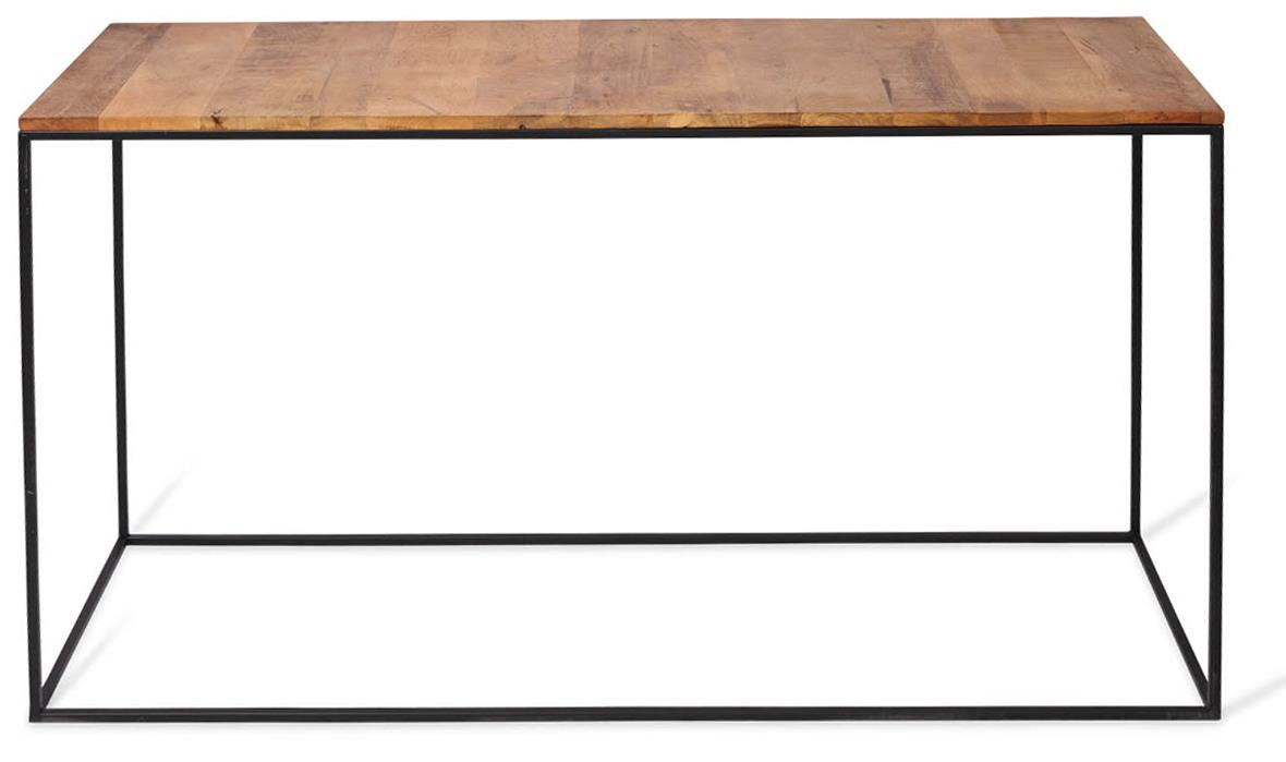 Image of Ava Rectangular Console Table with Mango Wood Top and Iron Legs - Natural/Black