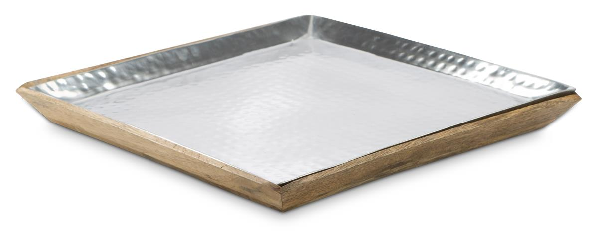 Image of Aluminium and Mango Wood Ari Square Tray with Removable Parts