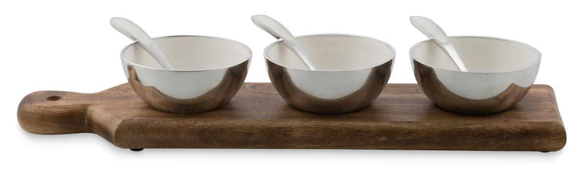 Image of Pinda Aluminium Set of 3 Condiment Bowls on Wooden Serving Board