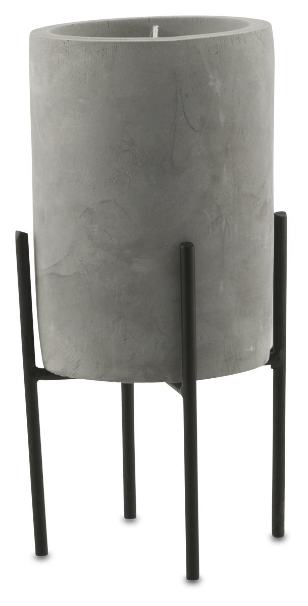 Image of Nanjin Large Cement Candle Pot with Wax On Metal Stand